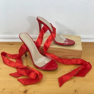 Silky Lace Up Red Stilettos